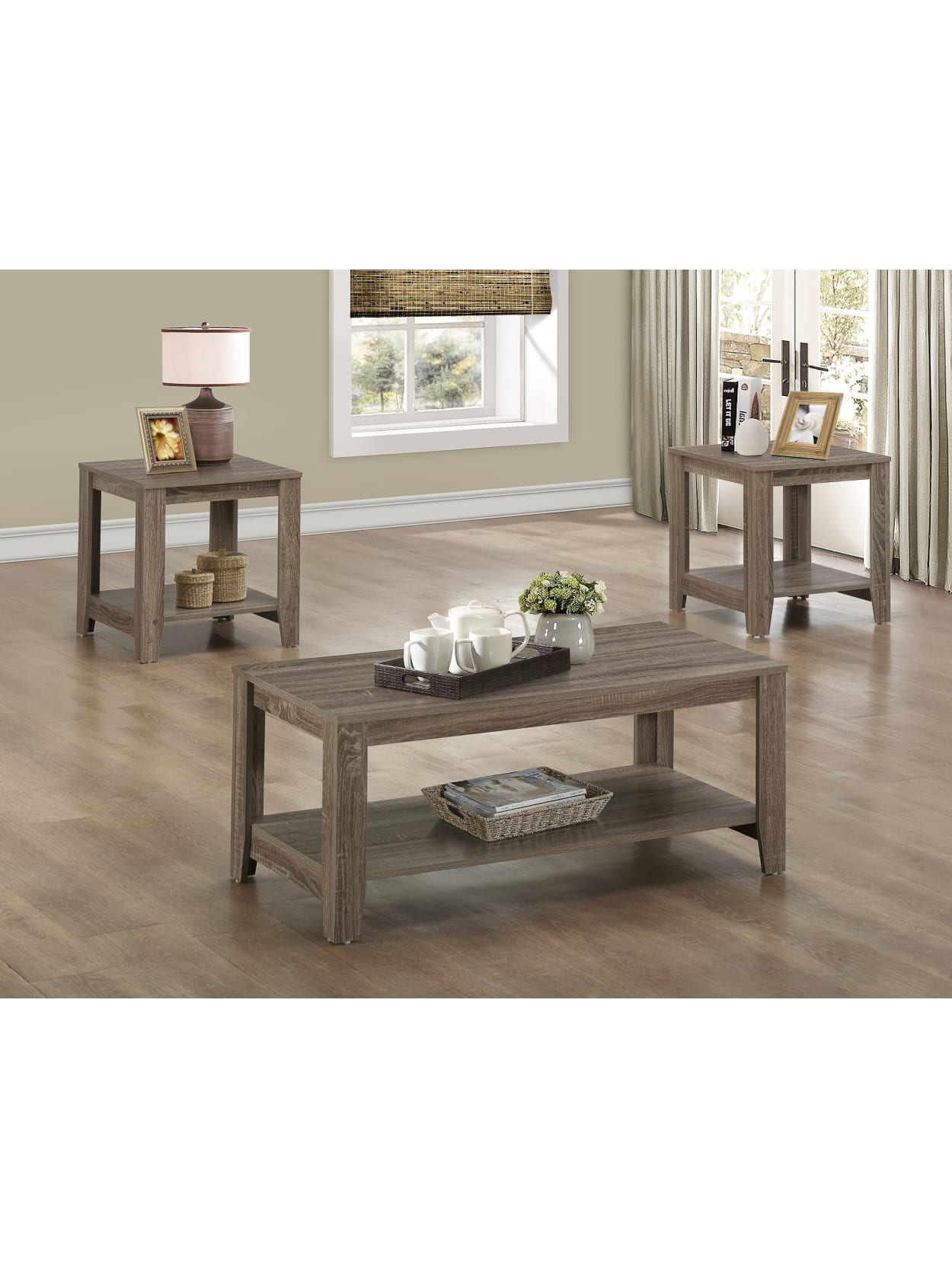 Monarch Specialties 3 Piece Coffee Table Set With Shelves Rectangle Dark Taupe Office Depot