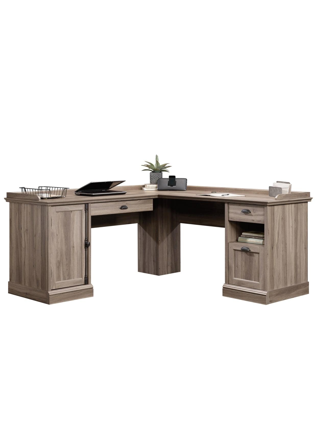 Sauder Barrister Lane L Shaped Computer Desk Salt Oak - Office Depot