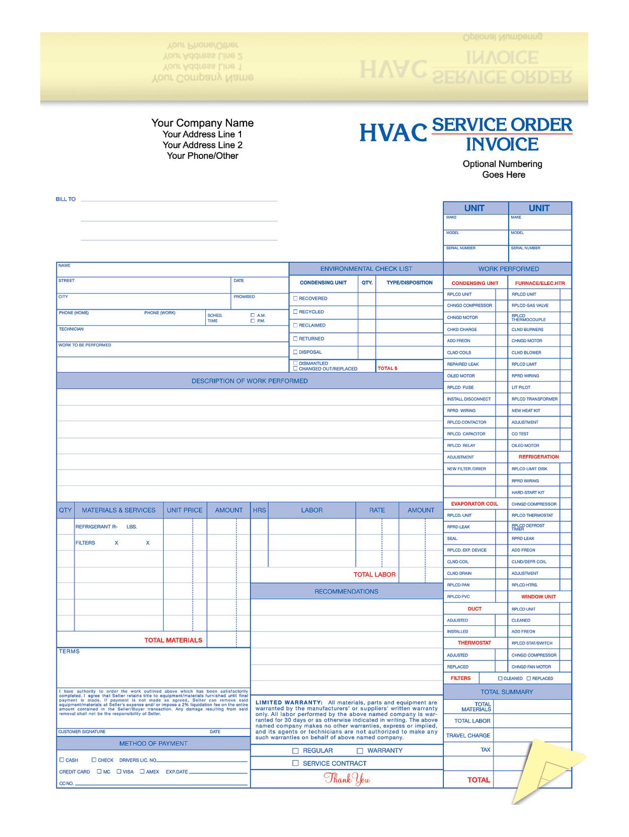 Custom 2 Part Business Forms Hvac Service Office Depot