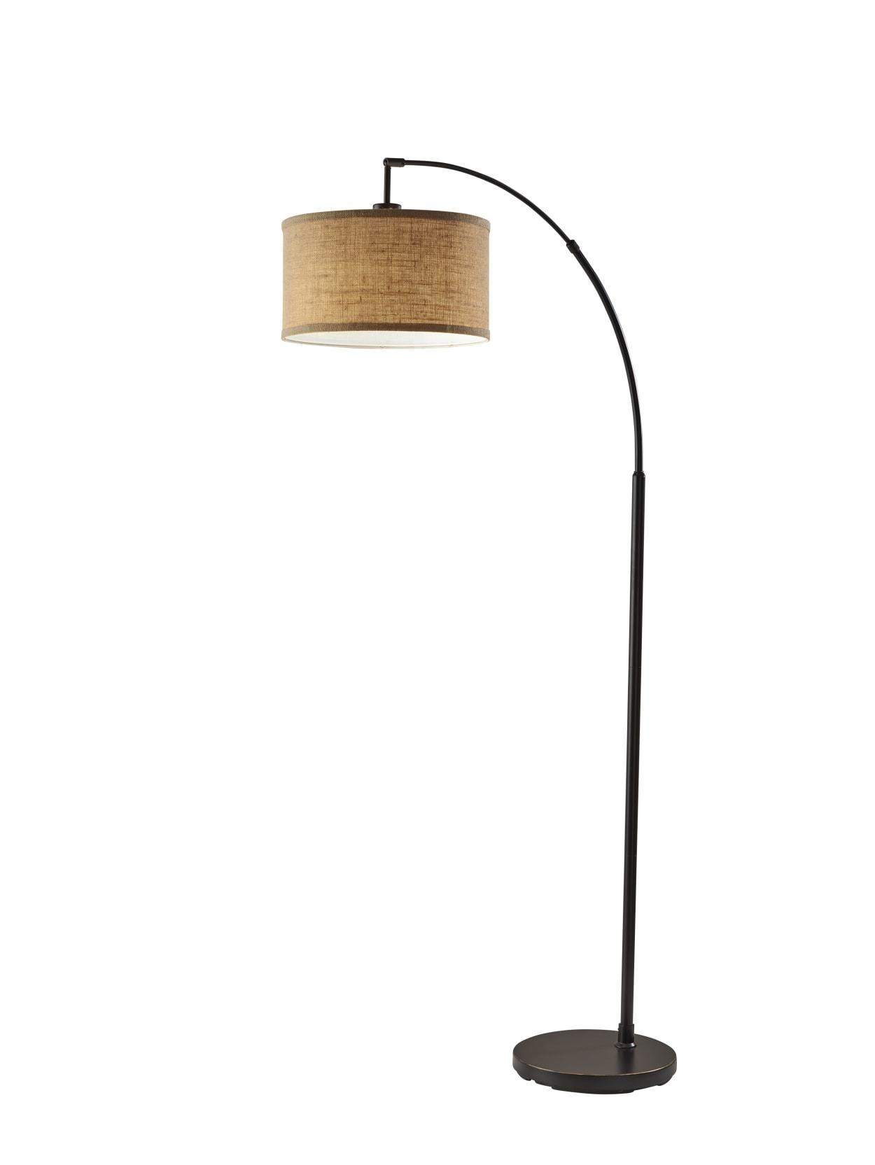 Adesso Simplee Burlap Arc Floor Lamp 68 H Antique Bronze Base Office Depot