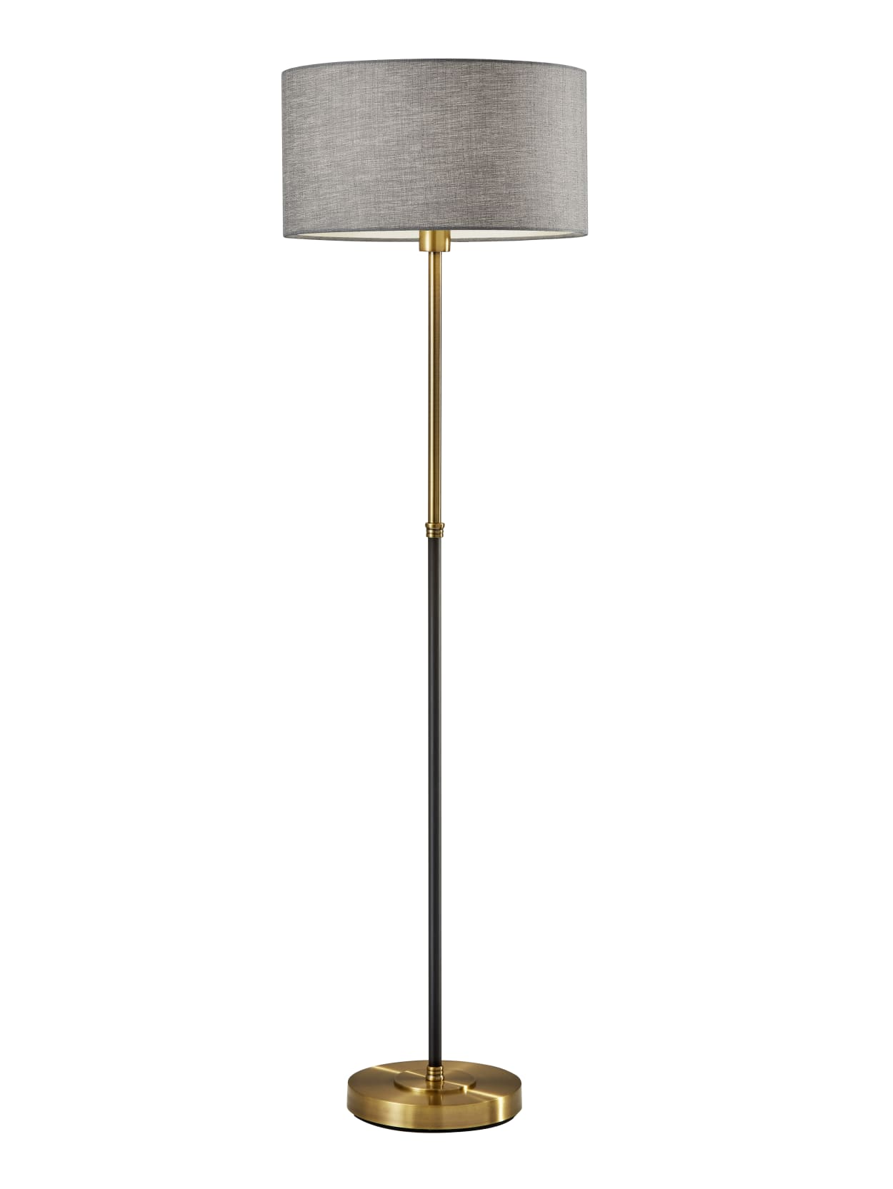 Image of: Adesso Bergen Floor Lamp 59 H Gray Shadeblack And Antique Brass Base Office Depot