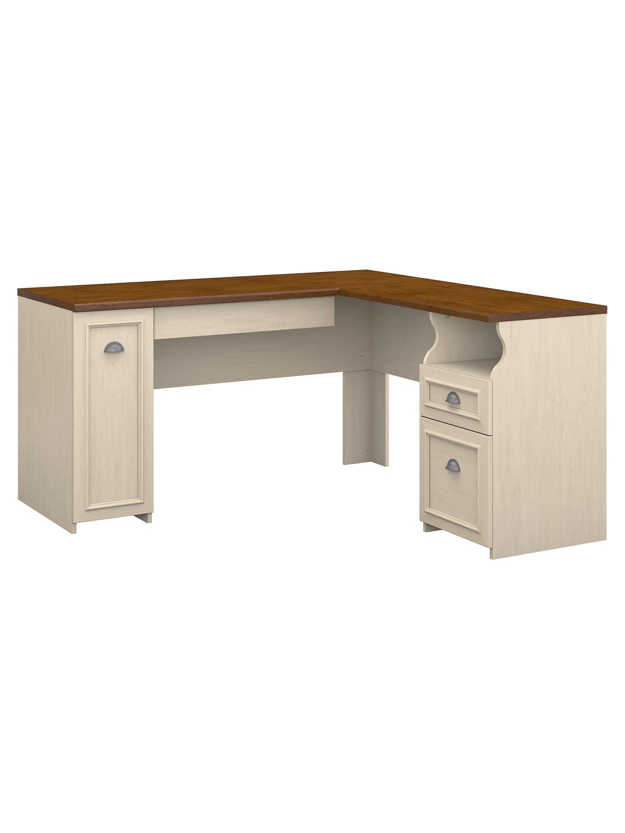 Bush Furniture Fairview L Shaped Desk Antique WhiteTea Maple