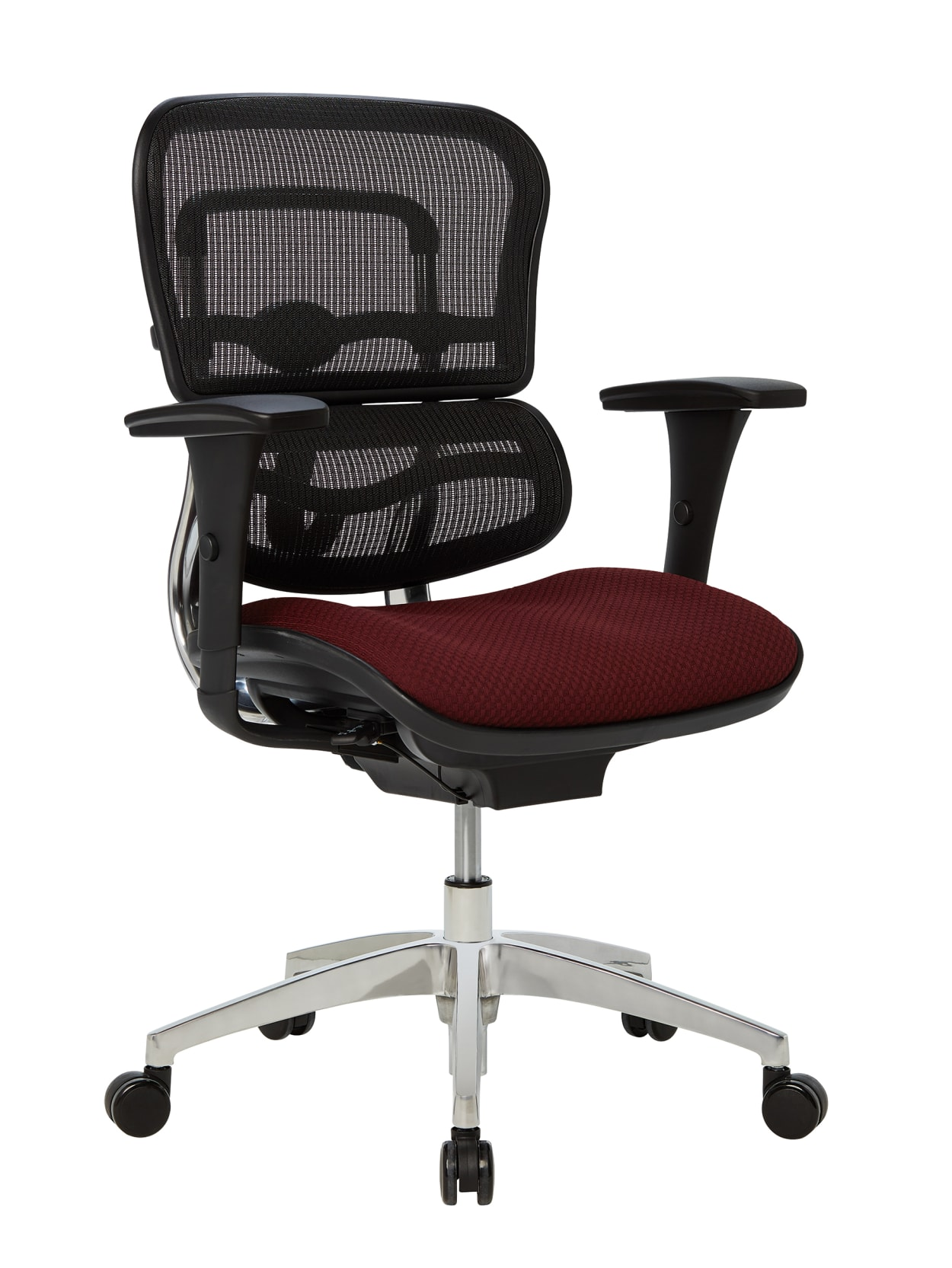 Workpro 12000 Series Meshfabric Mid Back Managers Chair Burgundyblackchrome Office Depot