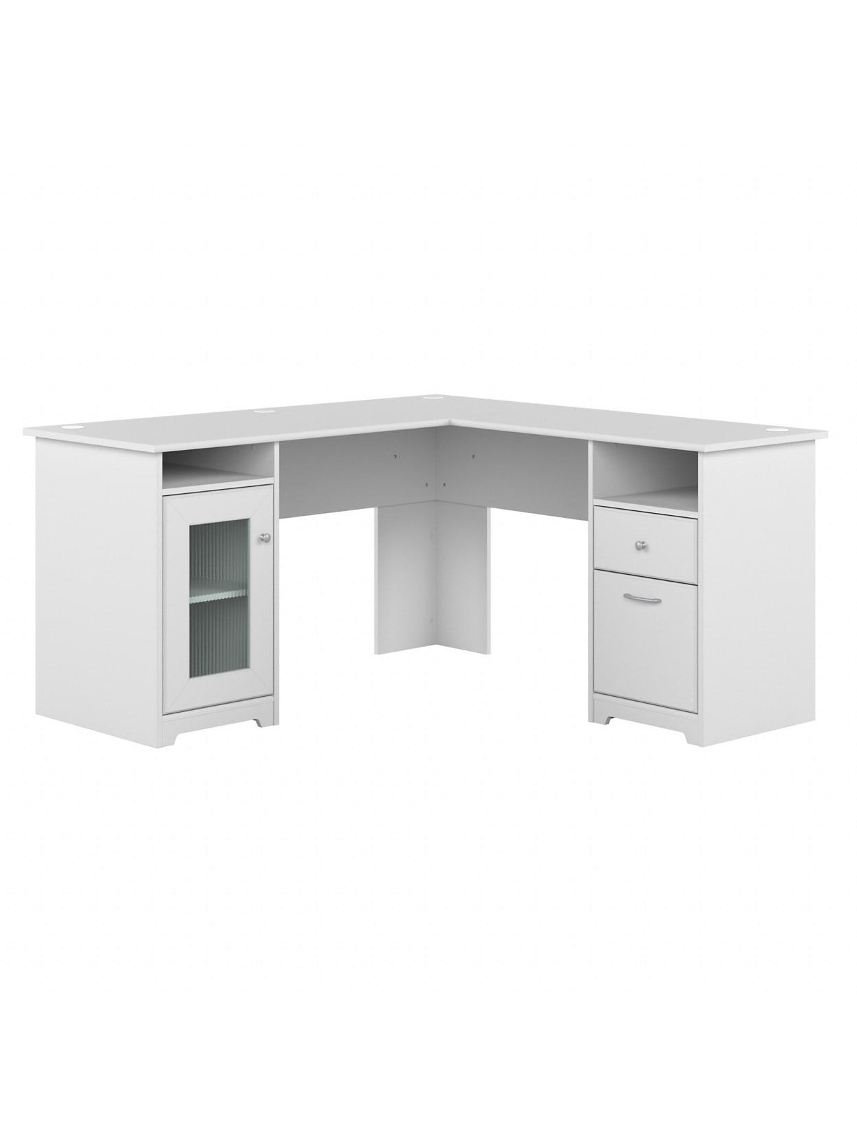 Bush Cabot L Shaped Desk 31 W White - Office Depot