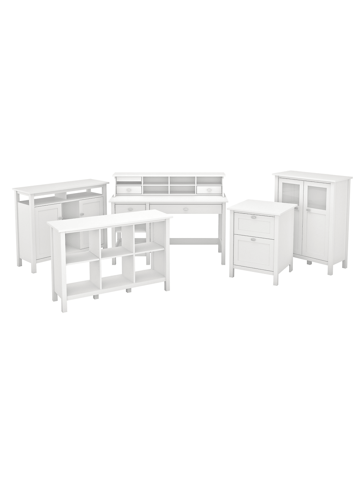 Picture of: Bush Furniture Broadview Computer Desk With Shelves Console Table Bar Cabinet And Storage Pure White Standard Delivery Office Depot