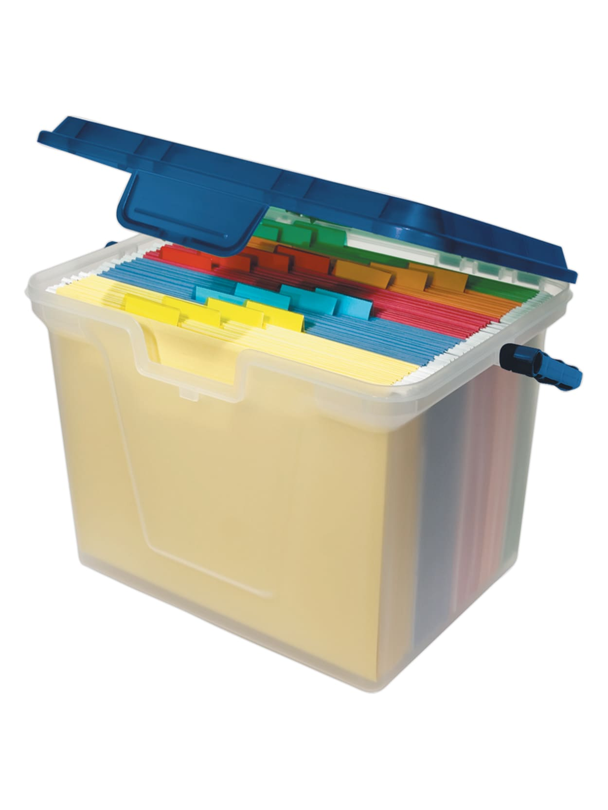 """Office Depot® Brand Portable File Box, 40 40/40""""H x 40 40/40""""W x 40 40/40""""D,  Clear/Navy Item # 7405070"""