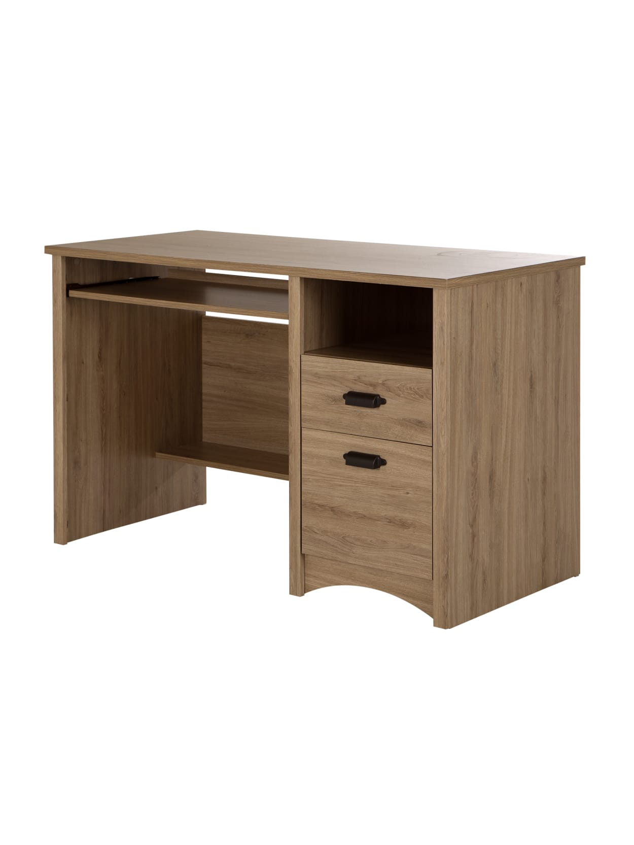 South Shore Gascony Computer Desk With Keyboard Tray Rustic Oak Office Depot