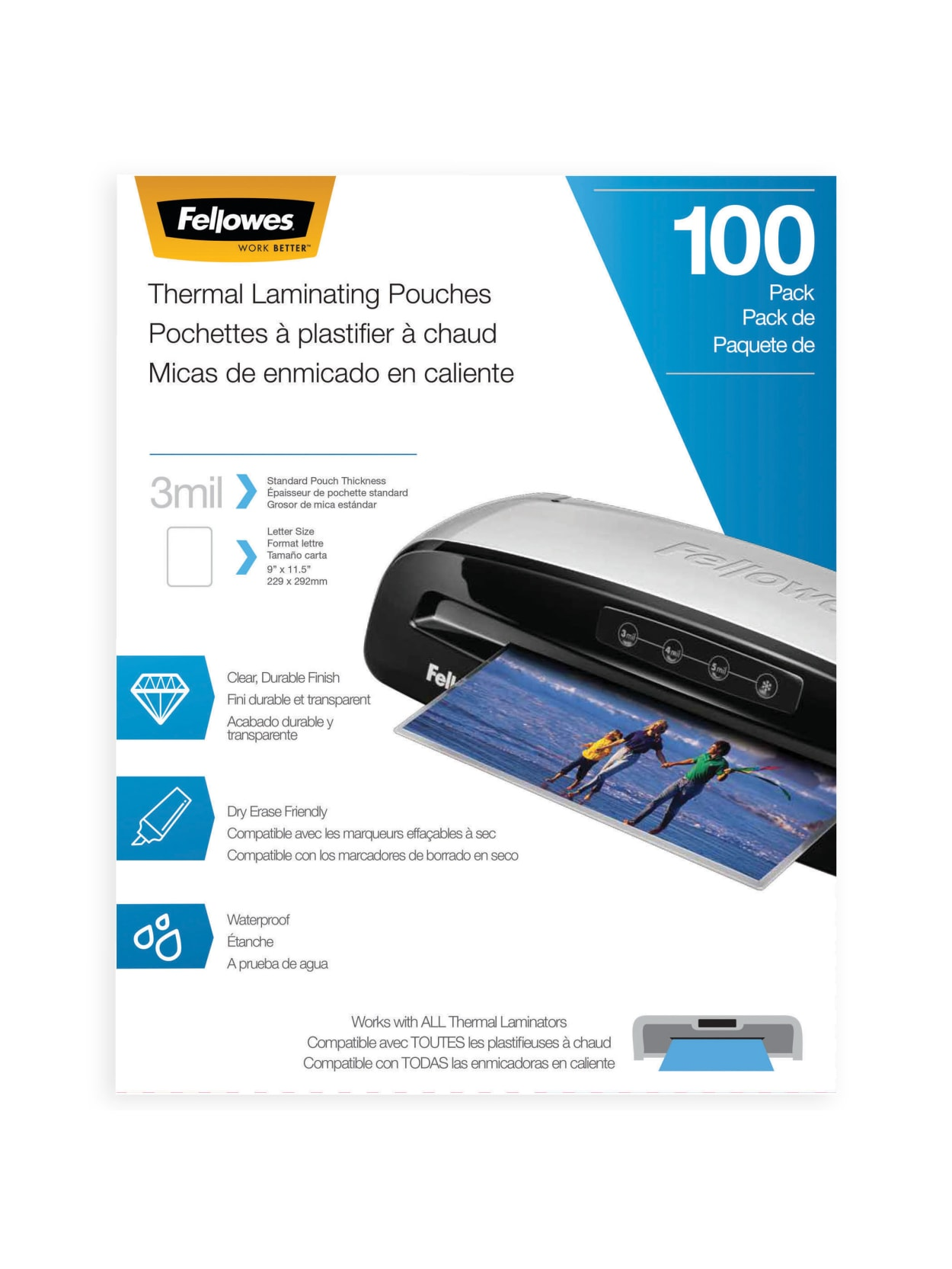 5mil Letter Size Sheets Fellowes Thermal Laminating Pouches 100pk 2 Pack