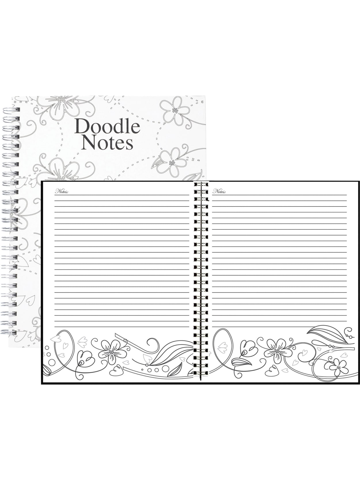 House Of Doolittle Doodle Notes Spiral Notebook 7 X 9 100percent Recycled Blackwhite January To December 2021 Office Depot
