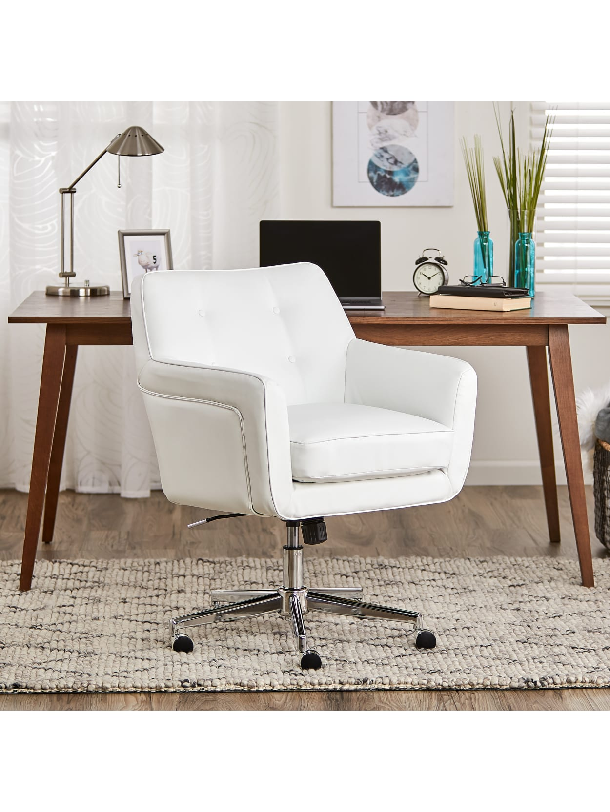 Serta Ashland Home Bonded Leather Mid Back Office Chair Whitechrome Office Depot