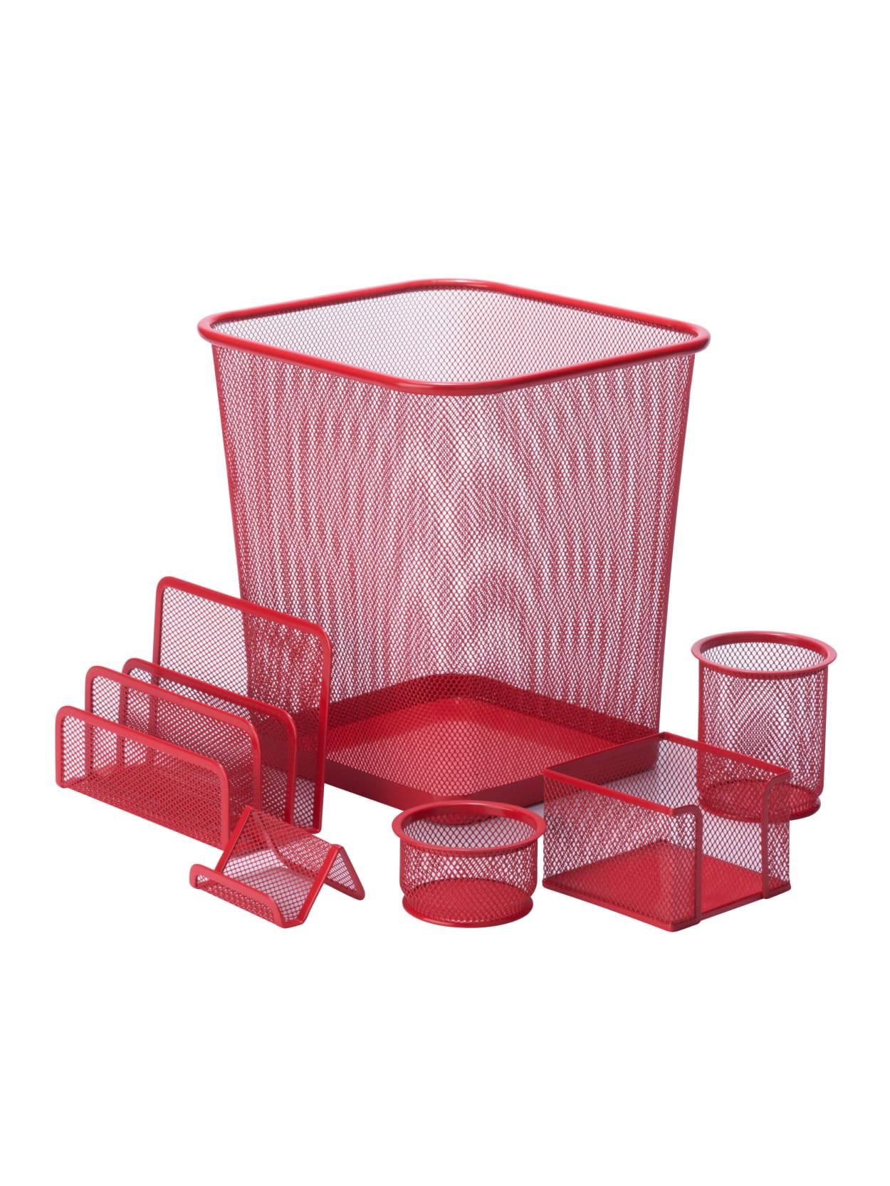 Honey Can Do 34 Piece Mesh Desk Organizer Set Red - Office Depot