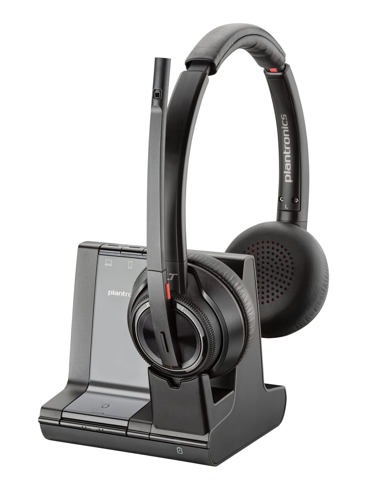 Plantronics Savi 8200 Series Wireless Dect Headset System Stereo Wireless Bluetoothdect 6 0 590 6 Ft 32 Ohm 20 Hz 20 Khz Over The Head Binaural Supra Aural Noise Cancelling Microphone Noise Canceling Black Office Depot