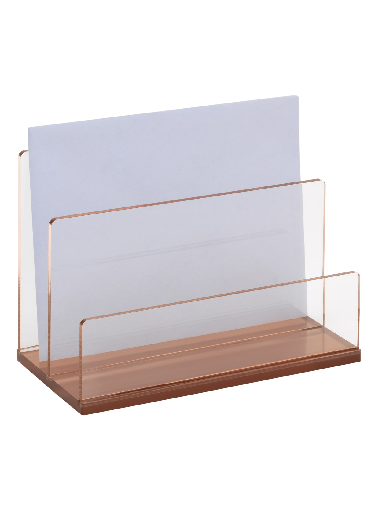 Image of: Realspace Rose Gold Acrylic 2 Compartment Desk Sorter Letter Size Office Depot
