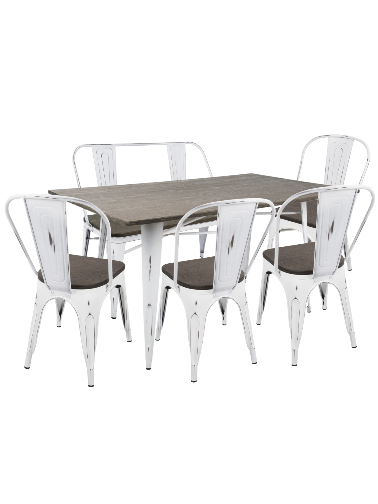 Lumisource Oregon Industrial Farmhouse Dining Table With 1 Bench And 4 Dining Chairs Vintage Whiteespresso Office Depot