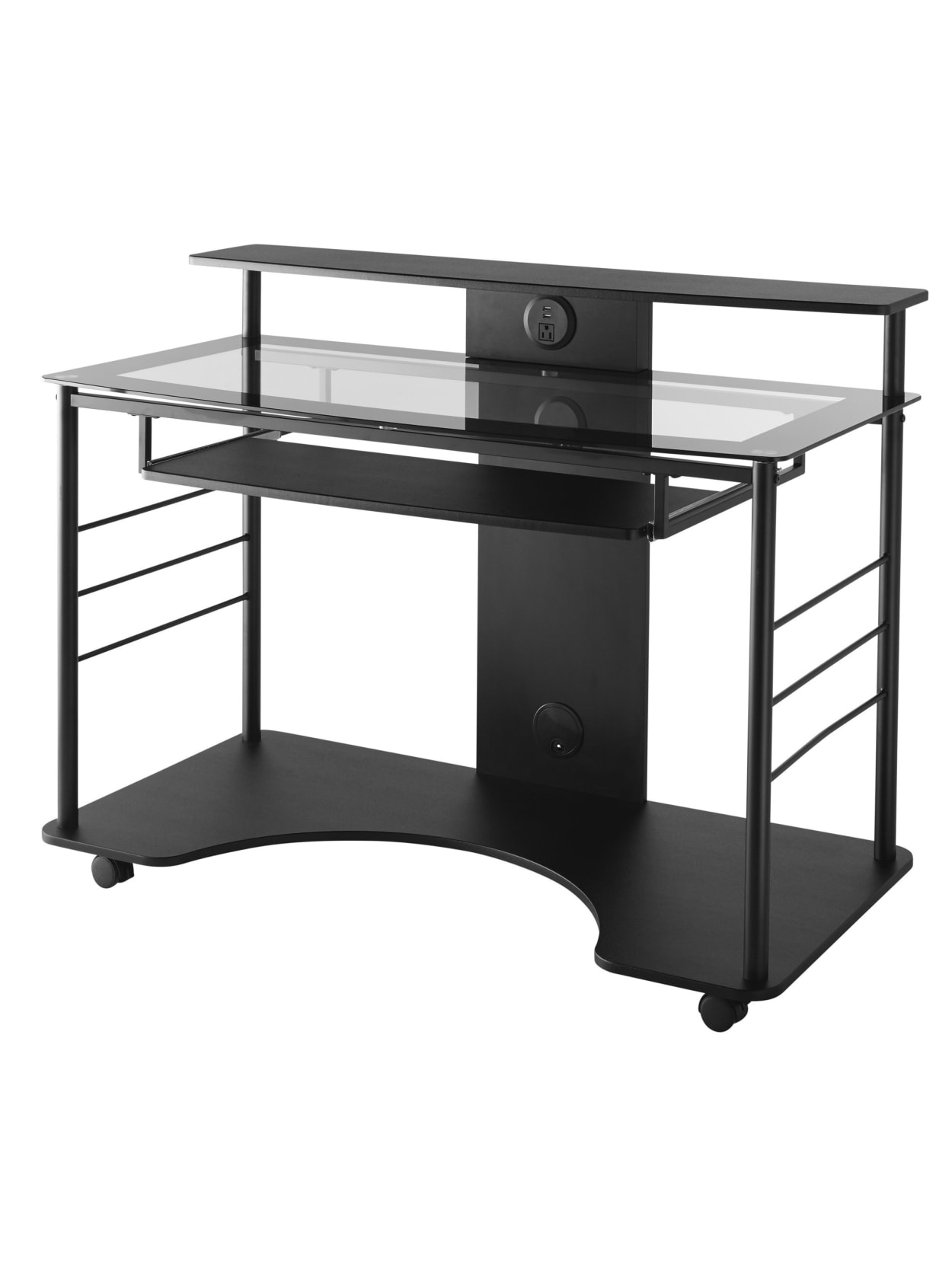 Realspace 47 W Mobile Tech Desk Black Office Depot