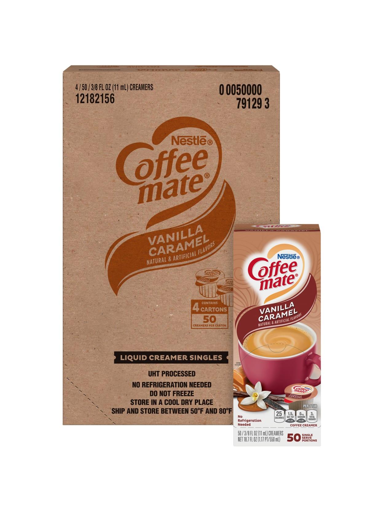 Coffee Mate Liquid Coffee Creamer Tub Singles Gluten Free Vanilla Caramel Flavor 0 38 Fl Oz 11 Ml 200carton 200 Serving Office Depot