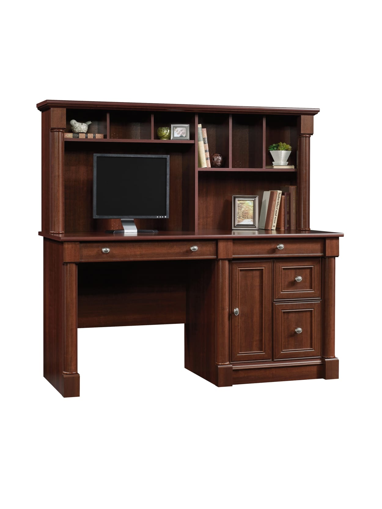 Sauder Palladia 60 W Computer Desk With Hutch Select Cherry Office Depot