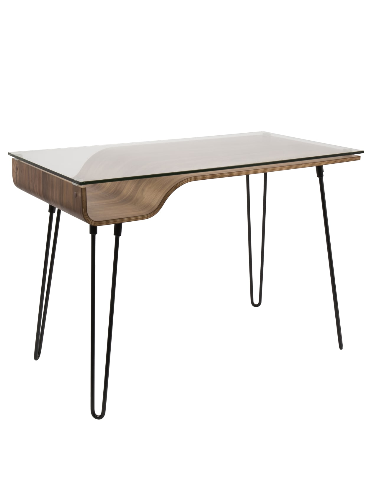Image of: Lumisource Avery Mid Century Modern Desk Walnutblack Office Depot