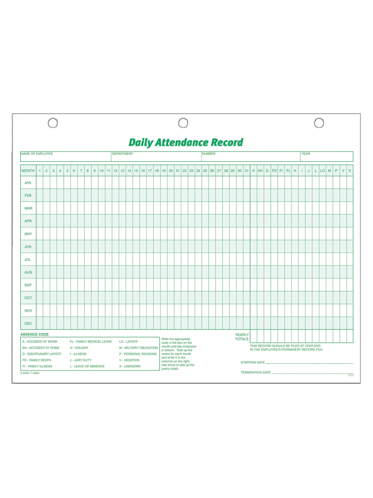 TOP3284 Tops Daily Attendance Record Form
