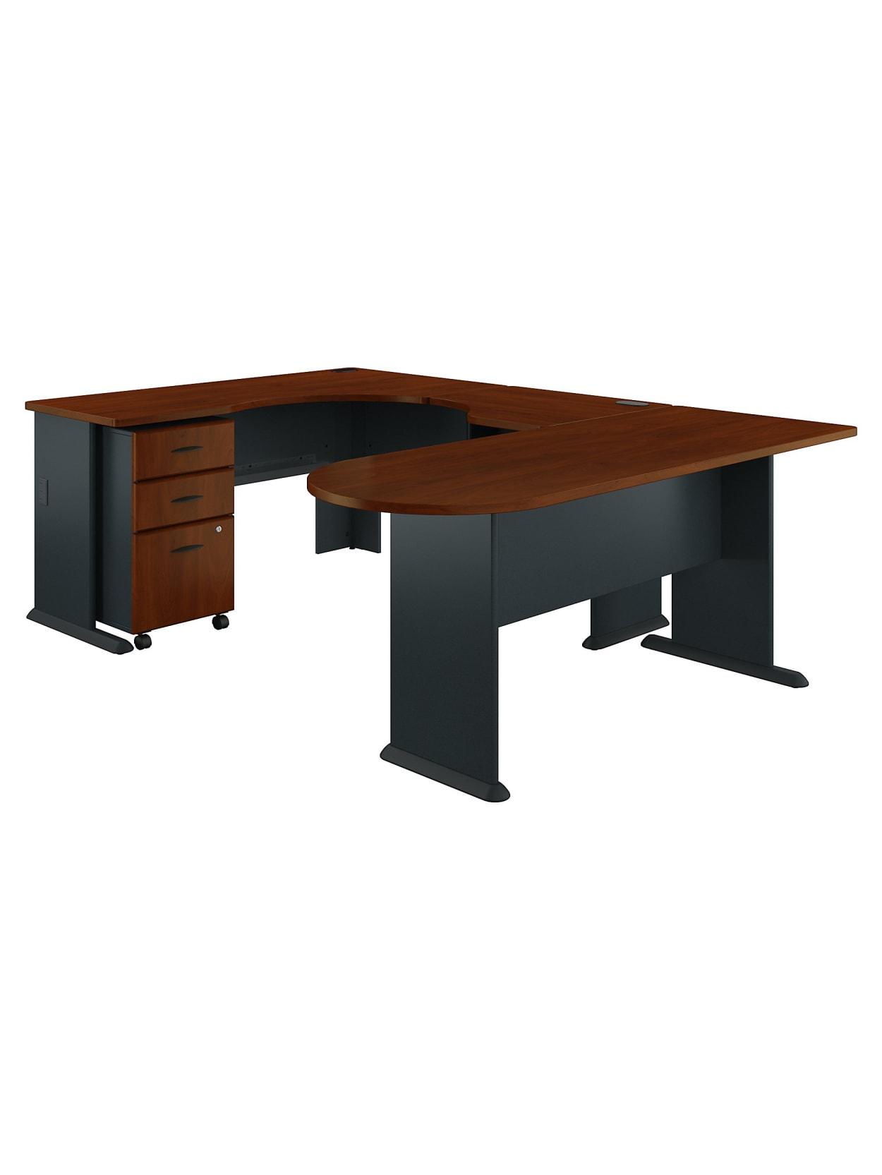 Bush Business Furniture Office Advantage U Shaped Corner Desk With Mobile File Cabinet Hansen Cherrygalaxy Standard Delivery Office Depot