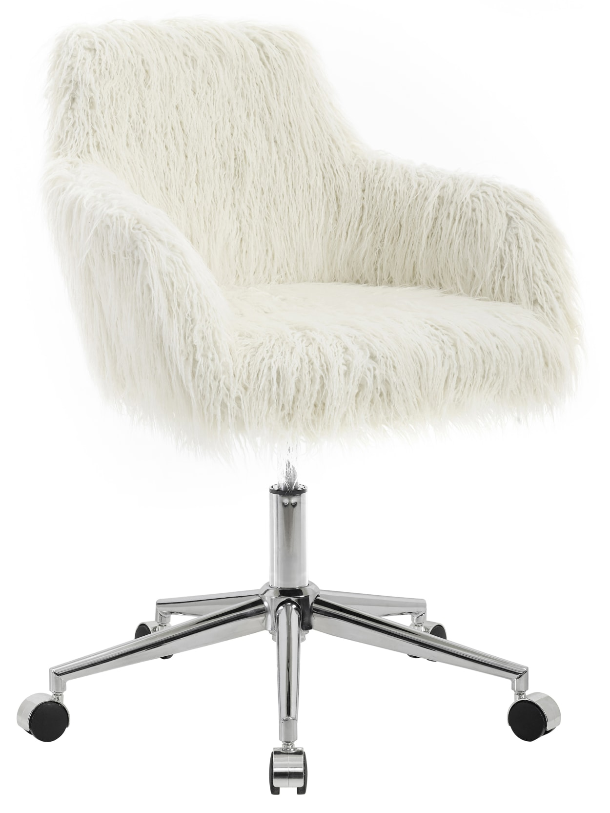 Linon Home Decor Aria Faux Fur Mid Back Home Office Chair Whitechrome Office Depot