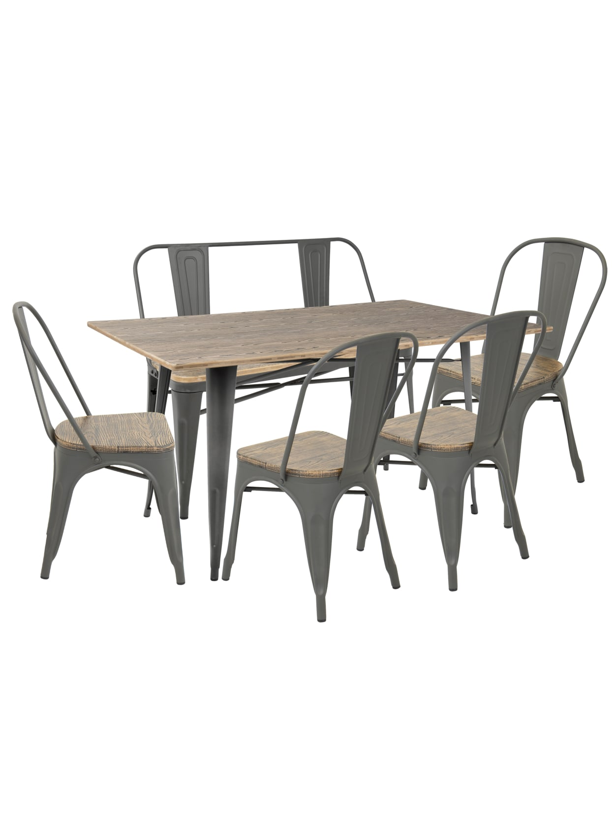 Lumisource Oregon Industrial Farmhouse Dining Table With 1 Bench And 4 Dining Chairs Graybrown Office Depot