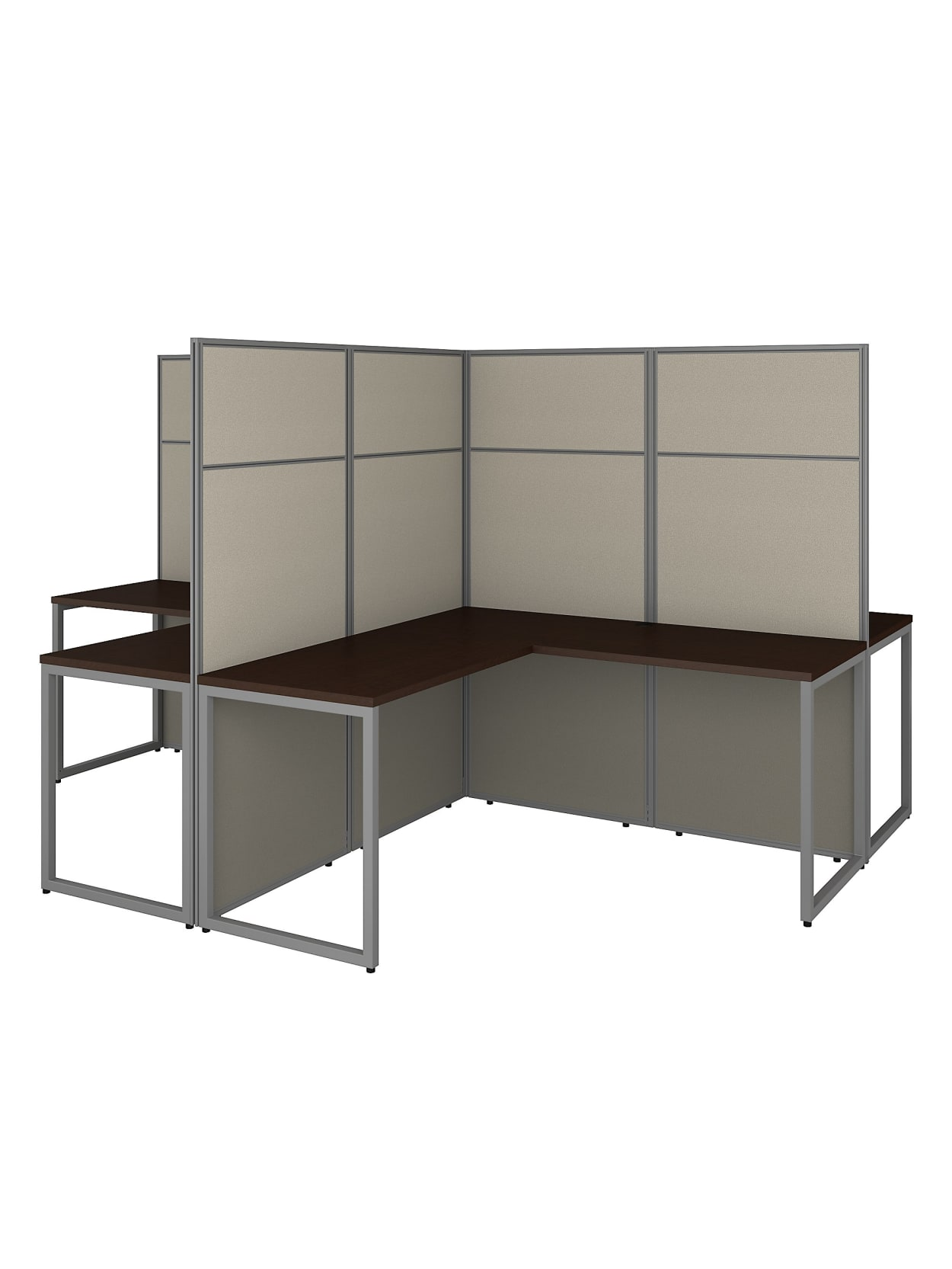 Bush Business Furniture Easy Office 60 W 4 Person L Shaped Cubicle Desk Workstation With 66 H Panels Mocha Cherry Standard Delivery Office Depot