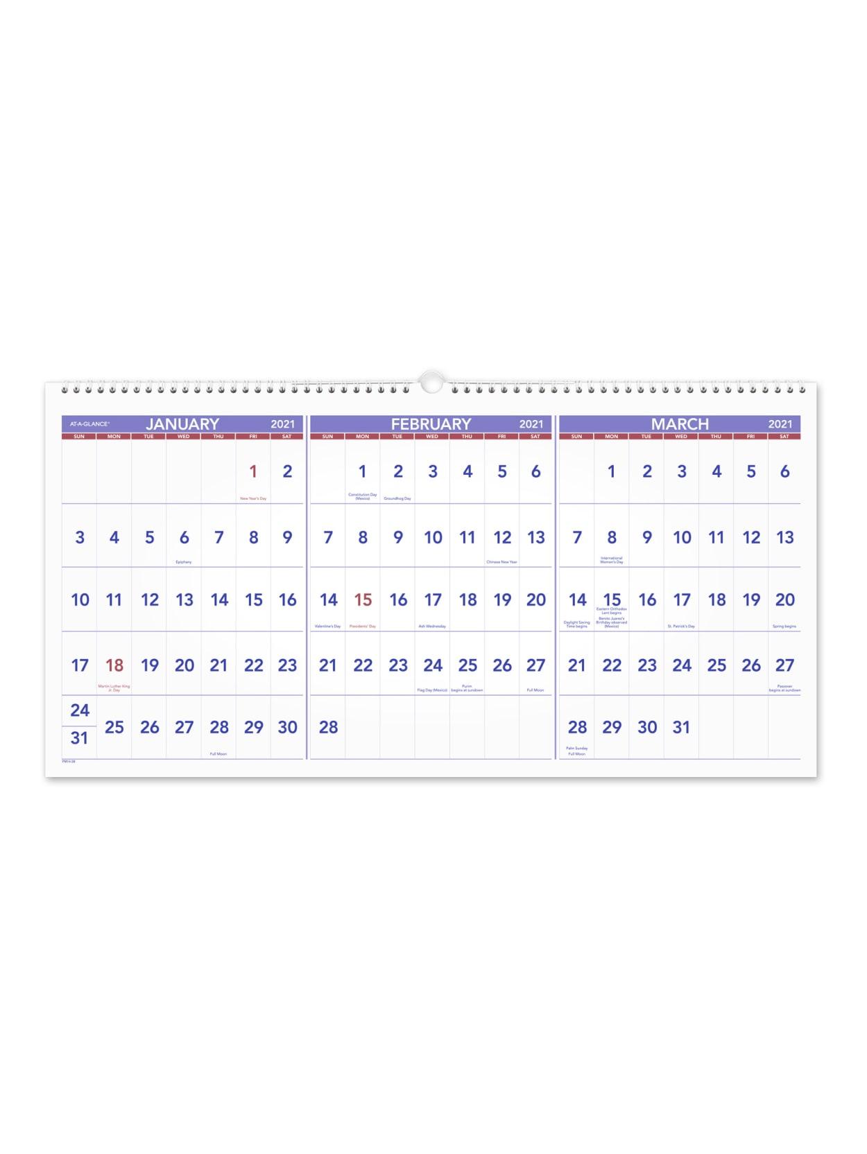 Staples Calendar 2022.At A Glance 3 Month Calendar Pm1428 Office Depot