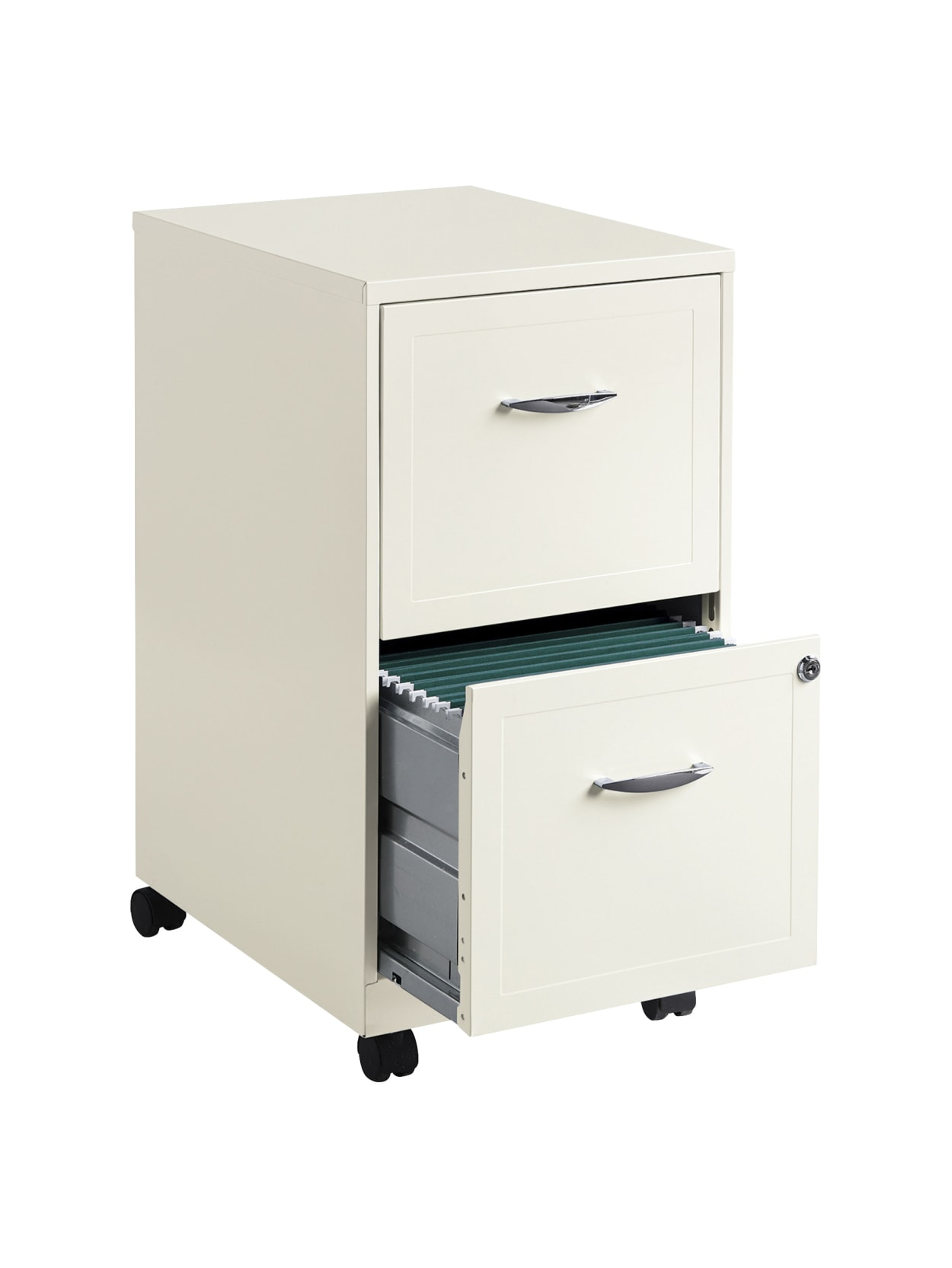 "Realspace® 35""D Vertical 35-Drawer Mobile File Cabinet, Metal, Pearl White  Item # 9413351"