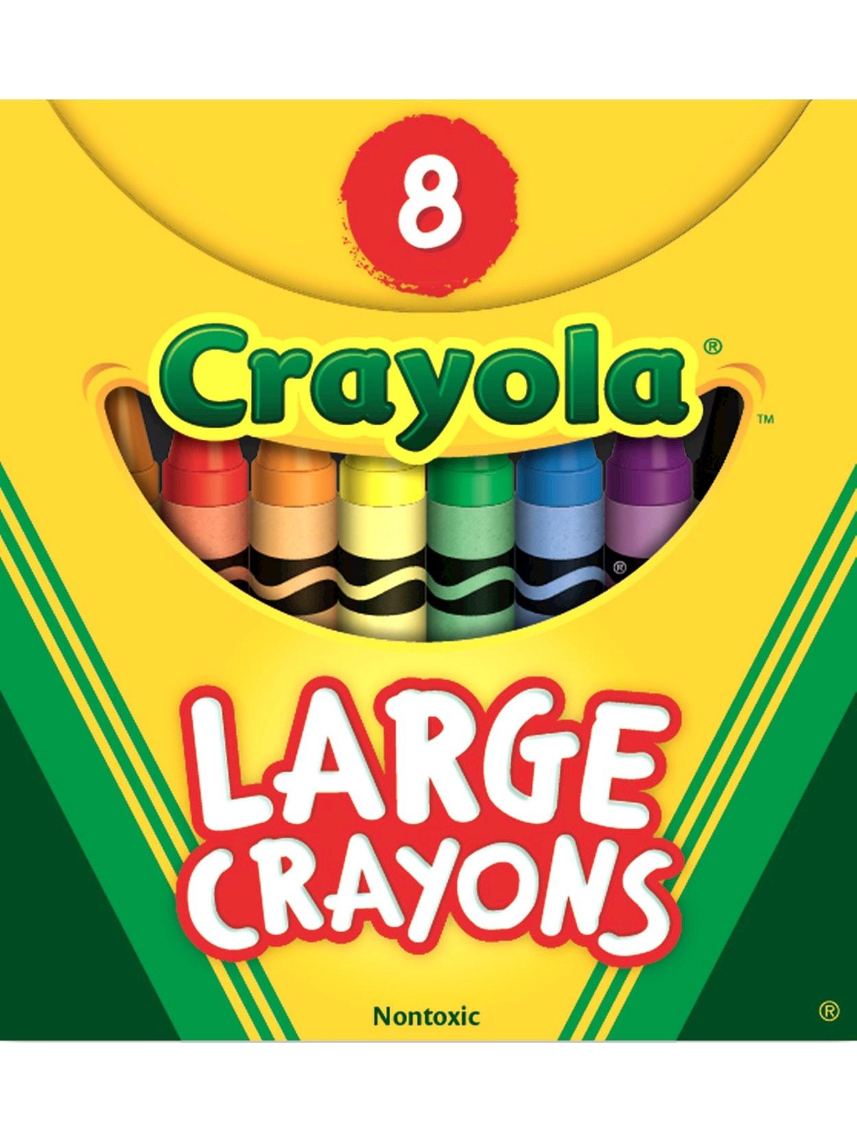 Crayola Large Crayon Set Assorted Colors Box Of 8 Office Depot