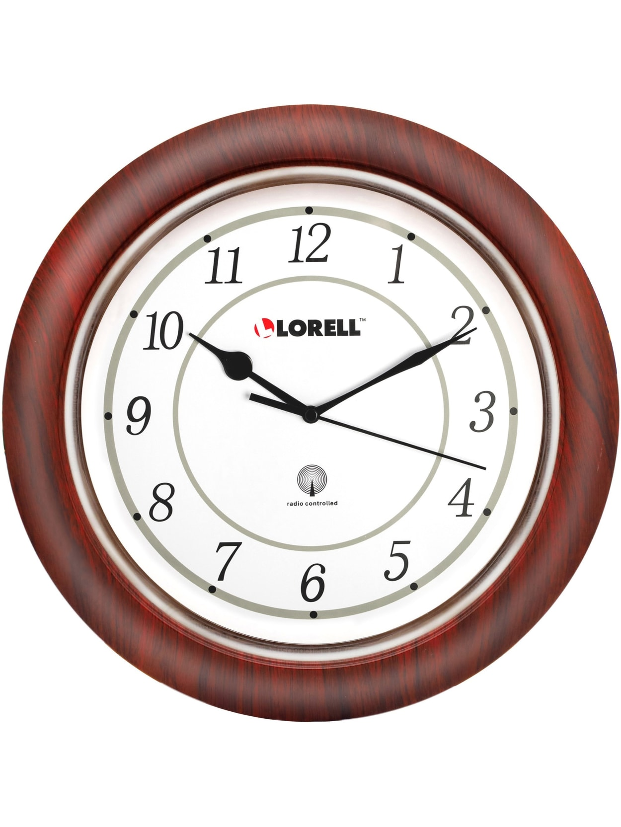 Lorell 13 14 Round Atomic Wood Wall Clock Mahogany Office Depot