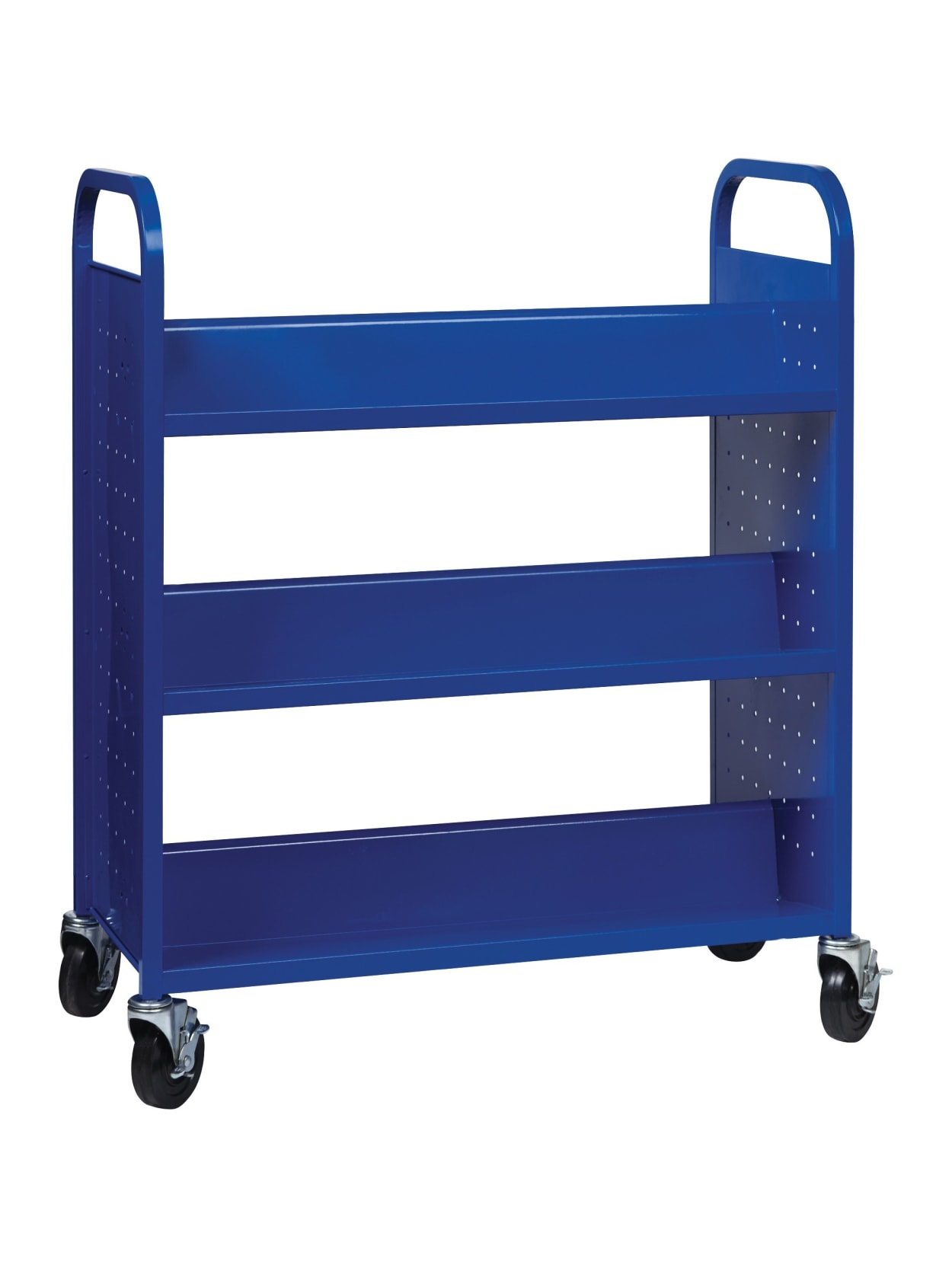 Lorell Double Sided Book Cart 6 Shelf Round Handle 5 Caster Size Steel 38 Width X 18 Depth X 46 3 Height Blue Office Depot