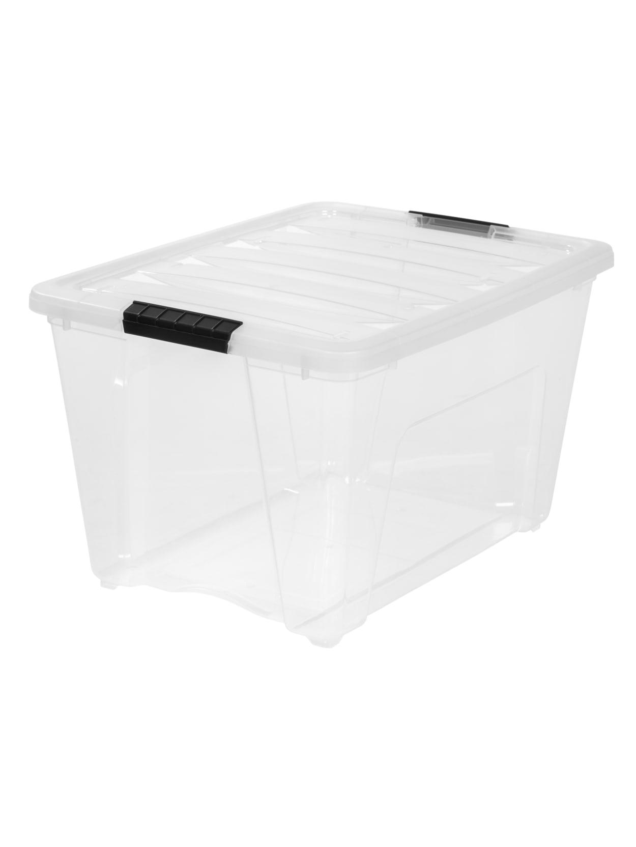 Iris Latch Plastic Bin 53 6 Qt Clear Office Depot