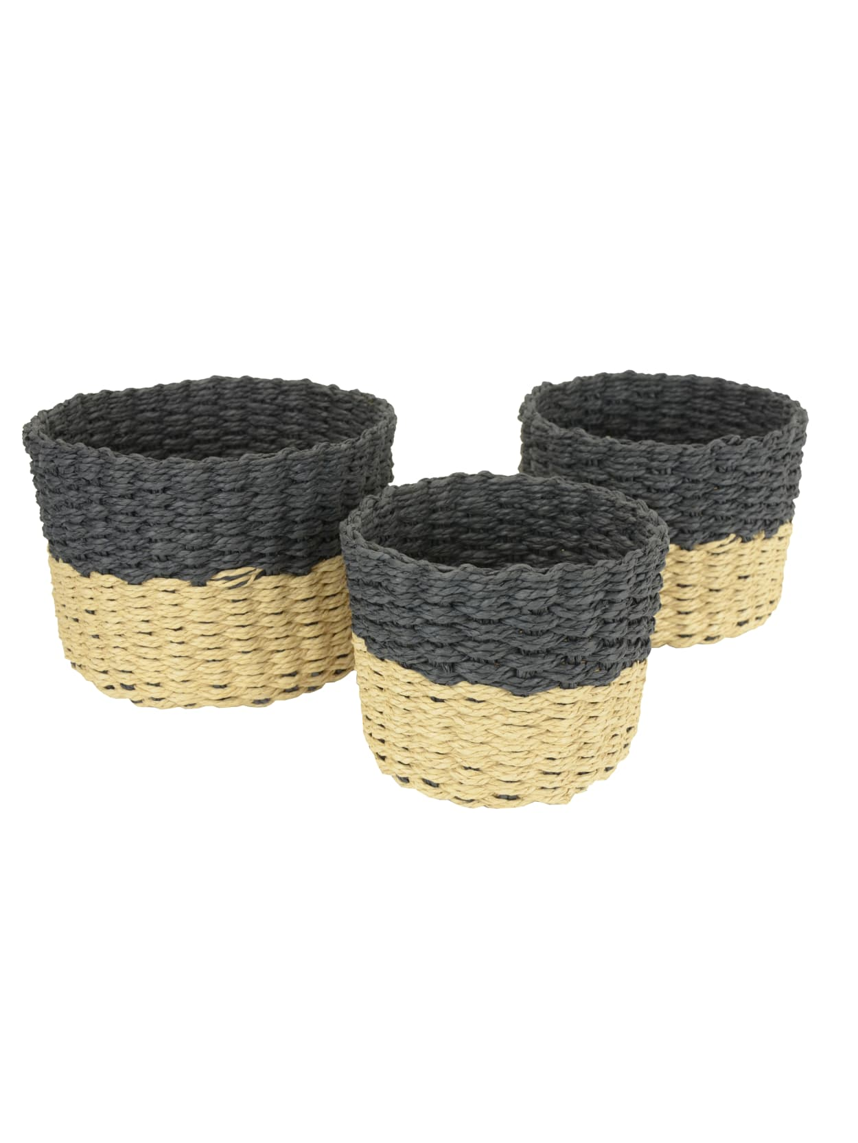 Gnbi 3 Piece Round Basket Set Blacknatural Office Depot