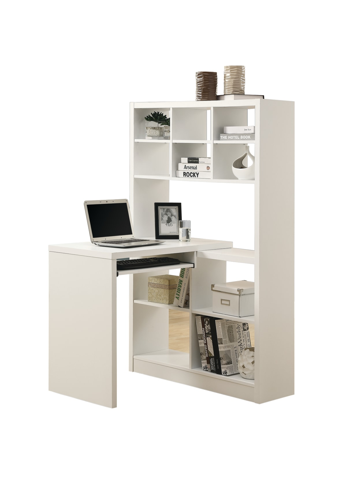 Monarch Specialties Corner Computer Desk With Built-In Shelves, White Item  # 35