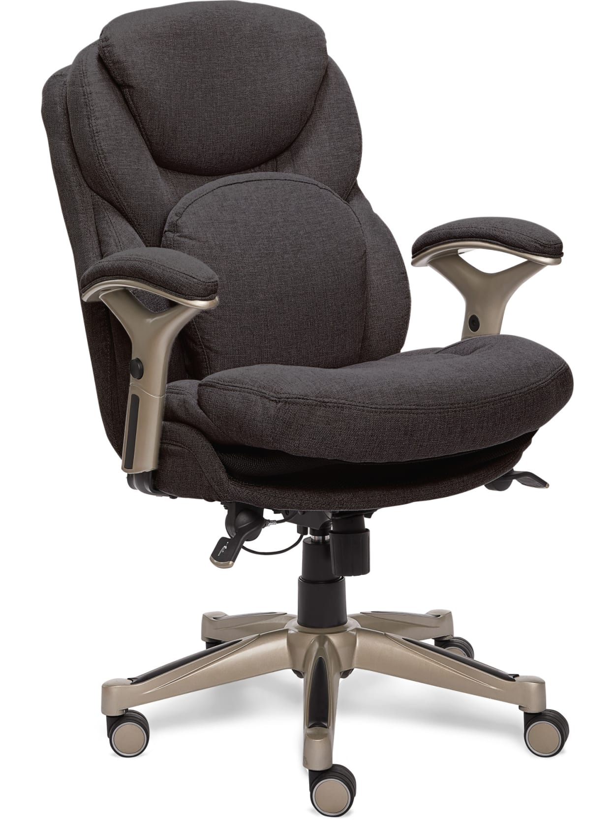 Picture of: Serta Works Mid Back Office Chair With Back In Motion Technology Fabric Dark Graysilver Office Depot