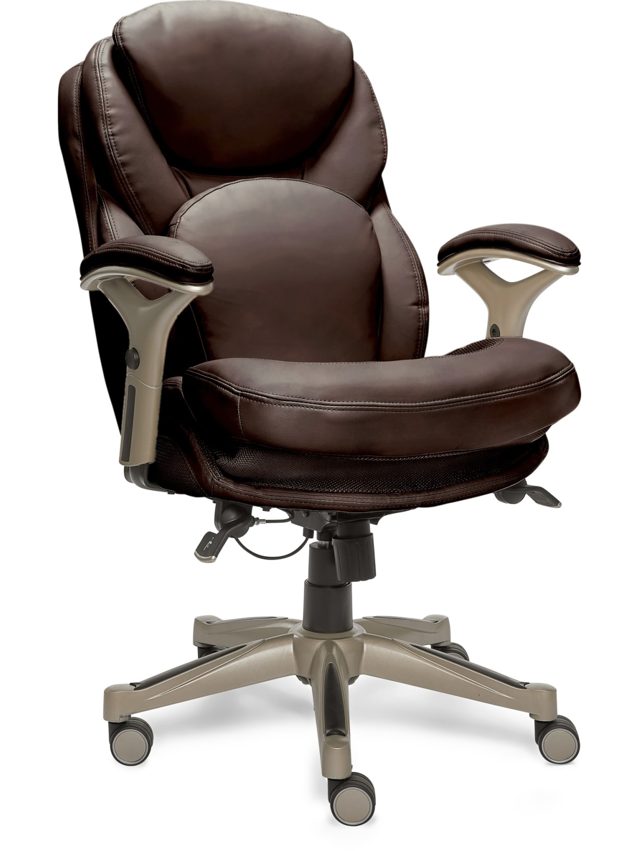 Serta Works Bonded Leather Mid Back Office Chair With Back In