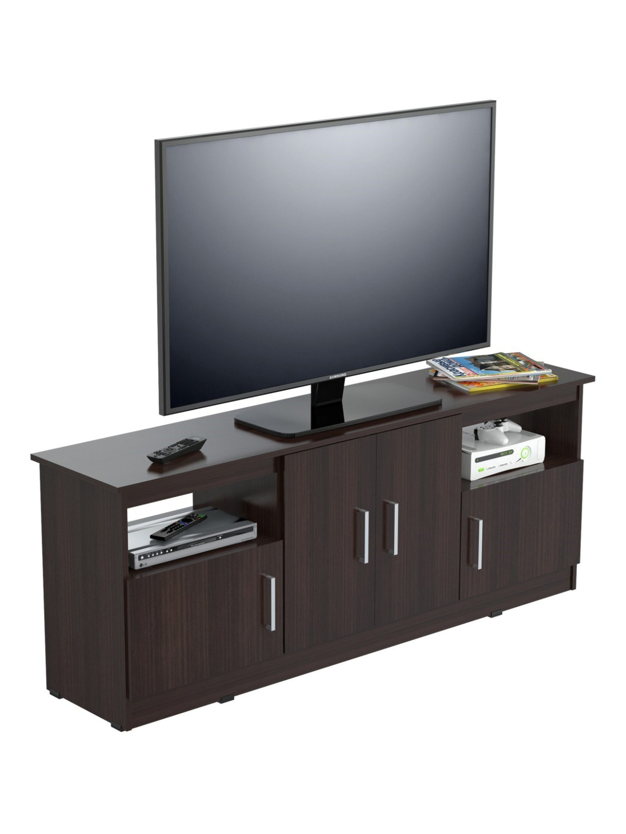 Inval Flat Screen Tv Stand For 60 Tvs 63 W Espresso Wengue Office Depot