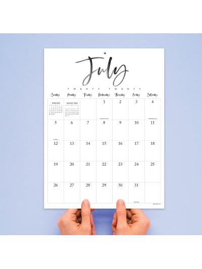 July 2020 June 2021 Handwritten Script Large Art Poster Monthly Wall Calendar