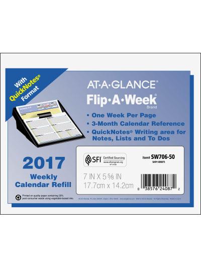 At-A-Glance Flip-A-Week Desk Calendar Refill AAGSW70650