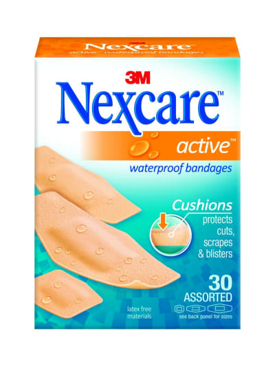 Assorted Sizes 1 Each Nexcare Active Waterproof Bandages By 3M 30 Count