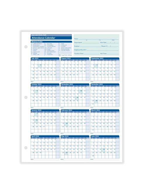 Attendance Calendar 2022.Complyright 2021 2022 Fiscal Attendance Calendar 8 12 X 11 Pack Of 50 Office Depot