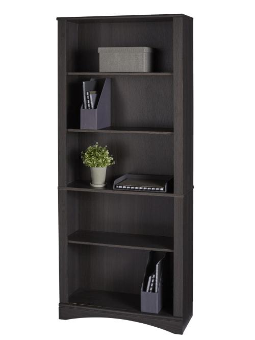 Realspace Pelingo 72 H 5 Shelf Bookcase Dark Gray Office Depot