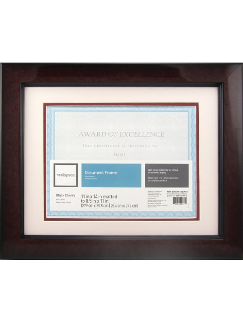Realspace Plastic Photodocument Frame 11 X 14 Matted For 8 12 X 11 Black Cherry Office Depot