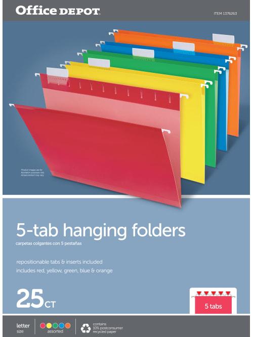 Legal Size 25-Pk Green Office Depot Brand Hanging Folders 1//3 Cut