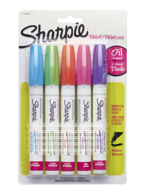Sharpie Oil Based Paint Markers Medium Point White Barrel Assorted Bright Colors Pack Of 5 Markers Office Depot