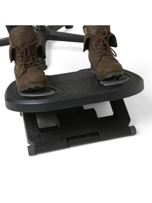 Mind Reader Height Adjustable Under Desk Footrest With Foot Prints 3 82 H X 17 72 W X 13 23 D Gray Office Depot