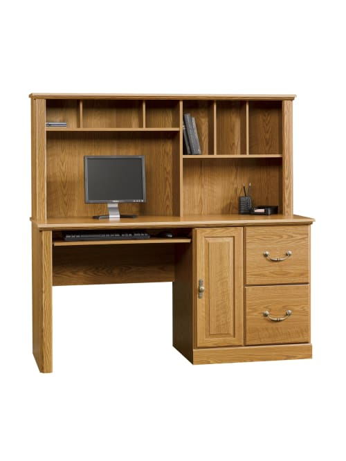 Milled Cherry finish Sauder Orchard Hills Computer Desk with Hutch