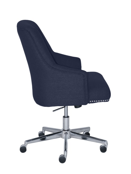 Serta Leighton Home Mid Back Office Chair Twill Fabric Bluechrome Office Depot