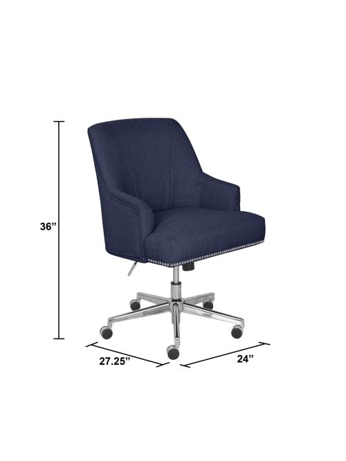Serta Leighton Home Mid Back Office Chair Twill Fabric Bluechrome Office Depot